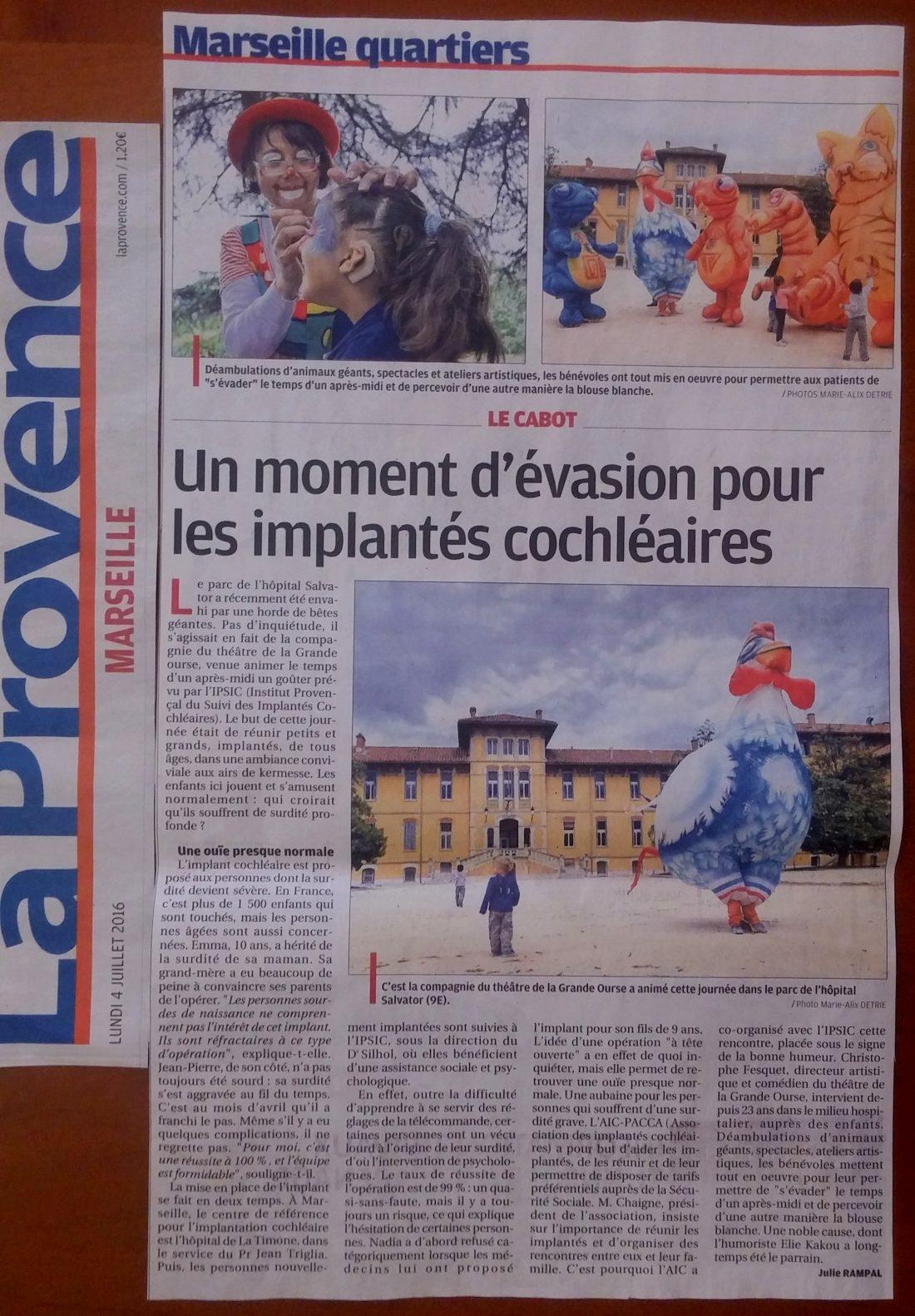 Spectacles ateliers artistiques - la Provence hôpital salvator 2016